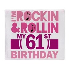 61st Birthday rock and roll Throw Blanket