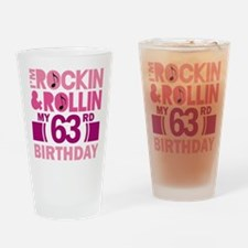 63rd Birthday rock and roll Drinking Glass
