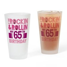 65th Birthday rock and roll Drinking Glass
