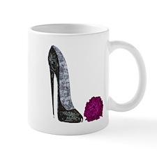 Black Stiletto Shoe and Red Rose Art Mug