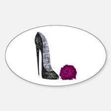 Black Stiletto Shoe and Red Rose Art Decal