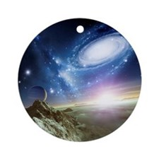 Colliding galaxies, artwork - Round Ornament