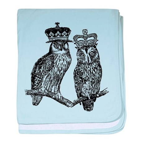 Owls With Crowns baby blanket