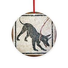 Roman guard dog mosaic - Round Ornament