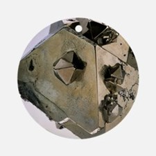 Iron pyrite crystal - Round Ornament