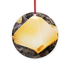 Iron pyrite crystal, SEM - Round Ornament