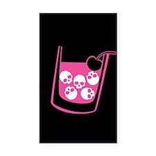 Pink Skull Cocktail Rectangle Car Magnet