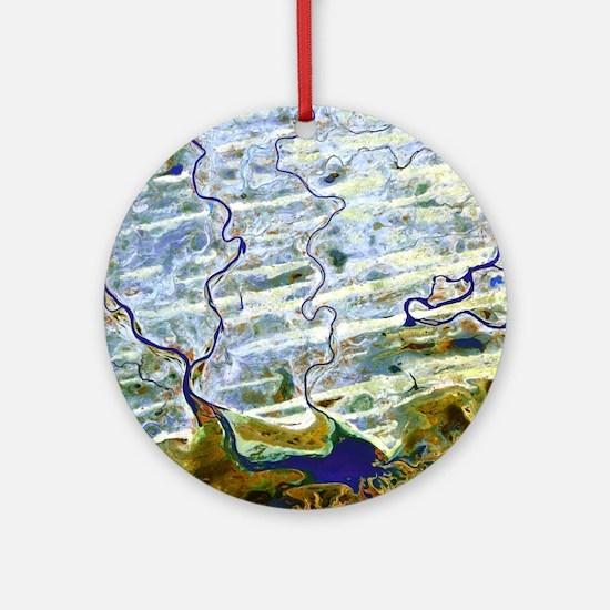 Saharan desert rivers, satellite image - Round Orn
