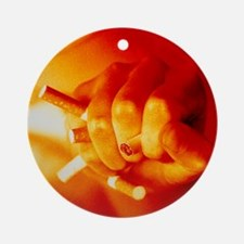 Hand crushing cigarettes - Round Ornament