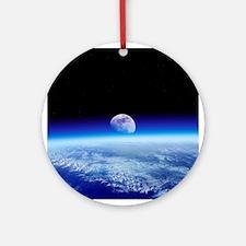 Moon rising over Earth's horizon - Round Ornament