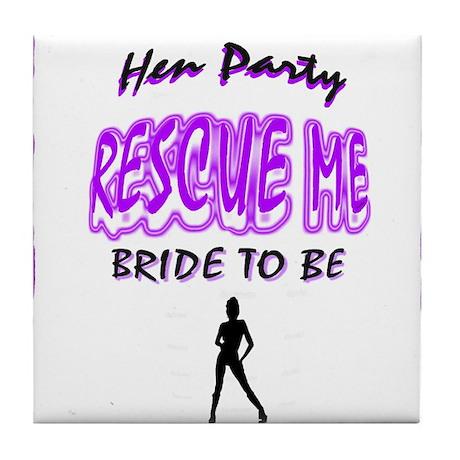 rescue me hen night art illustration Tile Coaster
