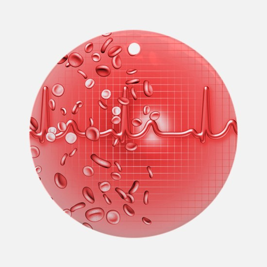 Red blood cells and ECG - Round Ornament