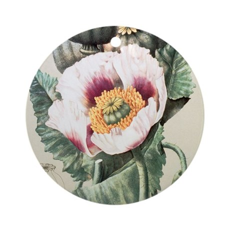 Lithograph of the opium poppy - Round Ornament