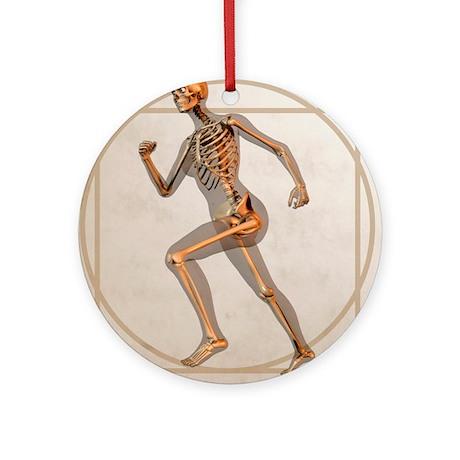 Skeleton running - Round Ornament