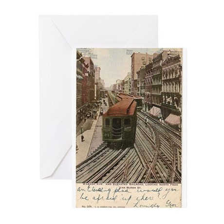 Vintage Chicago Elevated Railroad Greeting Cards