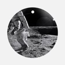 Apollo 12 astronaut on the Moon - Round Ornament