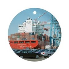 Container ship - Round Ornament