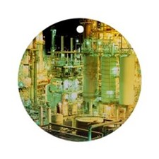 Oil refinery at night - Round Ornament