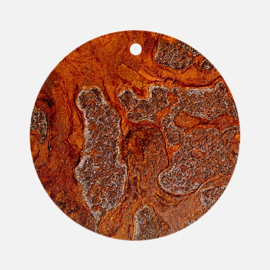 Rust seen on a steel sheet - Round Ornament