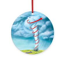 Tornado dynamics, artwork - Round Ornament