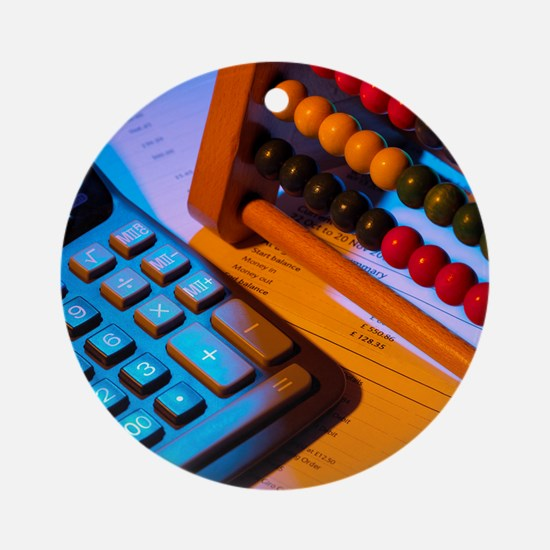 Abacus and calculator - Round Ornament
