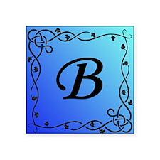 "Blue Initial B Square Sticker 3"" x 3"""