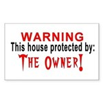 Protected By: The Owner Rectangle Sticker