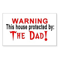 Protected By: The Dad Rectangle Sticker