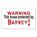 Protected By: Barney Rectangle Sticker