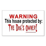 Protected By: The Dog's Owner Sticker (Rectangular