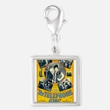 the telephone girl Silver Square Charm