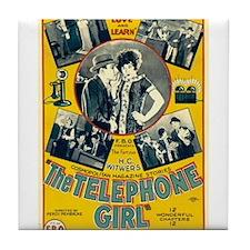 the telephone girl Tile Coaster