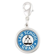 Law School Grad Silver Round Charm