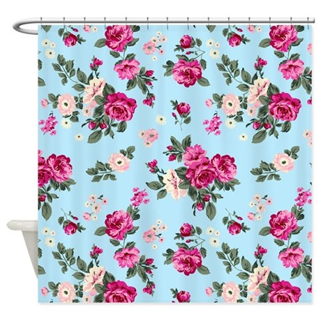 Pink Roses On Light Blue Background Shower Curtain By Artonwear