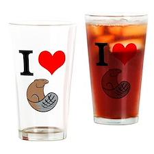 I Love Beaver Drinking Glass