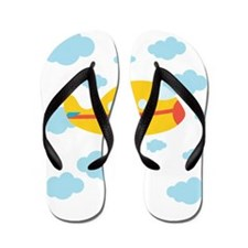 Yellow Airplane in the Clouds Flip Flops