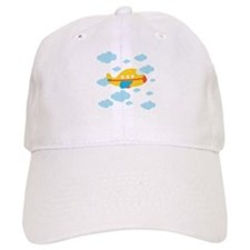 Yellow Airplane in the Clouds Baseball Cap