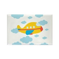 Yellow Airplane in the Clouds Rectangle Magnet