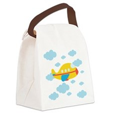 Yellow Airplane in the Clouds Canvas Lunch Bag
