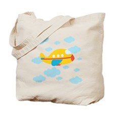 Yellow Airplane in the Clouds Tote Bag