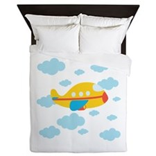 Yellow Airplane in the Clouds Queen Duvet