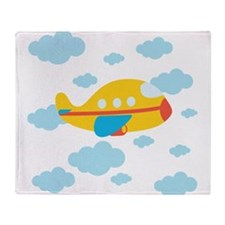Yellow Airplane in the Clouds Throw Blanket