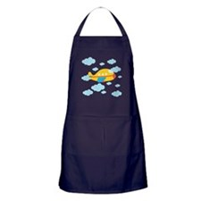 Yellow Airplane in the Clouds Apron (dark)