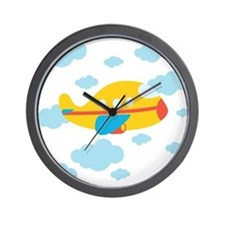 Yellow Airplane in the Clouds Wall Clock
