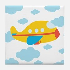 Yellow Airplane in the Clouds Tile Coaster
