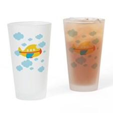 Yellow Airplane in the Clouds Drinking Glass