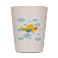 Yellow Airplane in the Clouds Shot Glass