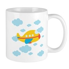 Yellow Airplane in the Clouds Mug