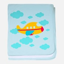 Yellow Airplane in the Clouds baby blanket