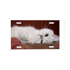 white cat Aluminum License Plate